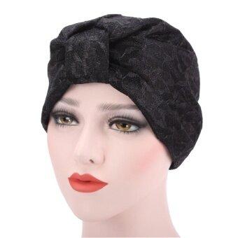 สตรีชาวมุสลิมรัฟเฟิลหมวกหมวกผ้าพันคอหมวกหัวใหญ่ Turban BK