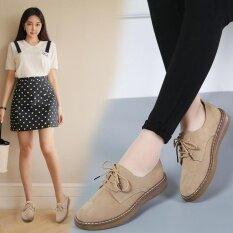 โปรโมชั่น Women Lace Up Casual Brogue Shoes Pu Leather Women Flat Shoes For Lady Women Oxford Leisure Women Shoes Khaki Intl จีน