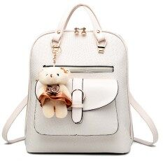 ราคา Women Ladies 3 In 1 Pu Leather Casual Outdoor Travel Tablet Bag Handbag Backpack Shoulder Bag With Bear Pendant Beige Vococal เป็นต้นฉบับ