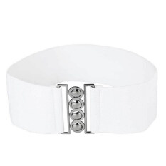 ราคา Women Ladies Fashion Alloy Clasp Buckle Adjustable Belts Elastic Cinch Waist Belt Strap For Women White ใหม่ล่าสุด