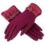 ซื้อ Women Ladies Fashion Bowknot Spandex Velvet Outdoor Winter Warm Full Finger Protection Mittens With Touchscreen Capability Wine Red Intl Vococal ถูก