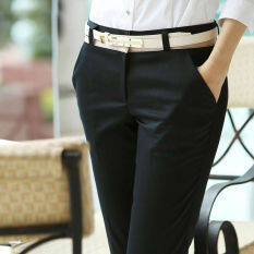ซื้อ Women Ladies Suit Pant Business Straight Black Trousers Office Formal Slim Fit Mid Waist Pant Unbranded Generic เป็นต้นฉบับ