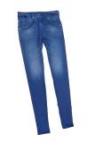 โปรโมชั่น กางเกงยีนส์สตรีสตรีกางเกงขายาวรัดรูปไร้คลื่นเลียนแบบกระเป๋าสีน้ำเงิน S