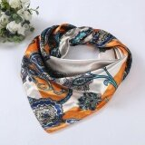 ราคา Women Lady Printed Square Scarf Head Wrap Kerchief Neck Satin Shawl Orange Intl ออนไลน์