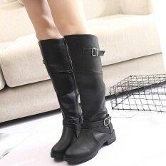 ราคา ผู้หญิงหนัง Knight หัวเข็มขัดสุภาพสตรี Faux รองเท้าแบนมาร์ตินรองเท้า นานาชาติ ราคาถูกที่สุด