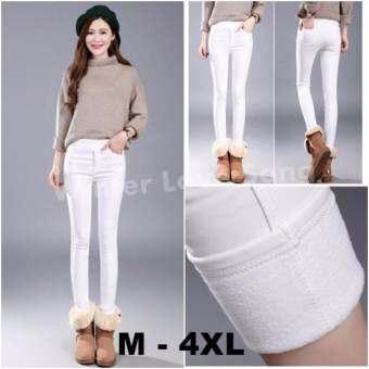 เลกกิ้งบุขน Women Leggings Skinny Wool สกินนี่บุขน กางเกงขายาวบุขน กันหนาว รุ่น Same Zip (สีขาว)