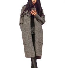 ความคิดเห็น Women Long Cardigans Autumn Winter Thicken Jacket Coat Casual Knitted Oversized Sweater Cardigan Warm Outwear Plus Size Gray Intl