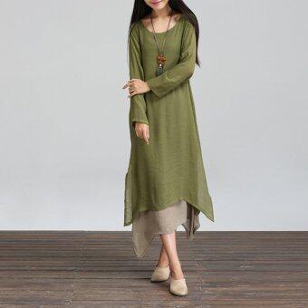 ผู้หญิงชุดราตรียาวสีเขียว