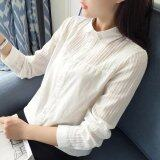 ราคา Women Long Sleeve White Shirt Spring Autumn Cotton Bottoming Tops Blouse Round Neck Intl จีน