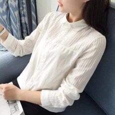 ราคา Women Long Sleeve White Shirt Spring Autumn Cotton Bottoming Tops Blouse Round Neck Intl ใหม่