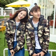 โปรโมชั่น Women Long Sleeve Zipper Camouflage Hooded Coat Jacket Intl ถูก