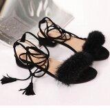 ซื้อ Women Low Heel Summer Tassel With Hair Shoes Ladies Wendding Sandals Bk 35 Intl ใหม่