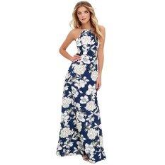 ขาย Women Maxi Dress Halter Neck Floral Print Sleeveless Summer Beach Holiday Long Slip Dress Blue Intl ถูก