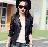 โปรโมชั่น Women Motorcycle Pu Jacket Biker Coat Leather Jackets Short Outerwear Coat Black Intl ใน จีน