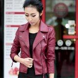 ราคา ผู้หญิงรถจักรยานยนต์ Pu แจ็คเก็ต Biker Coat แจ็คเก็ตหนังสั้น Outerwear Coat สีแดง Unbranded Generic ใหม่