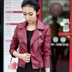 ผู้หญิงรถจักรยานยนต์ Pu แจ็คเก็ต Biker Coat แจ็คเก็ตหนังสั้น Outerwear Coat สีแดง เป็นต้นฉบับ