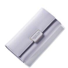 โปรโมชั่น Women Multifunction Big Capacity Leather Zipper Wallet 2017 New Korean Style Long Wallet Violet Intl จีน