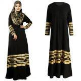 ซื้อ Women Muslim Maxi Dress Stripes Zipper Long Sleeves Abaya Kaftan Islamic Robe Long Dress Black Intl ถูก ใน จีน
