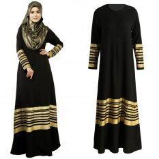 ซื้อ Women Muslim Maxi Dress Stripes Zipper Long Sleeves Abaya Kaftan Islamic Robe Long Dress Black Intl Unbranded Generic