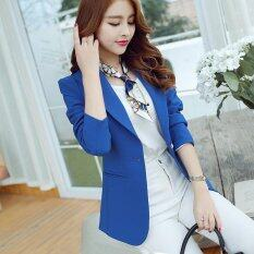 Women New Blazer Suit Coat Slim Long Sleeve Female Casual Blazers Dark Blue Intl เป็นต้นฉบับ