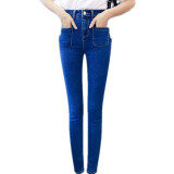 Women New High Waist Jeans Nine Feet Pencil Pants Korean Decorative Pocket Blue Intl ถูก