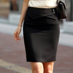 ทบทวน Women New Ol Skirts Ladies Slim Business Work Office Plain Suit Skirt Black Intl
