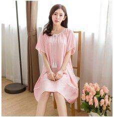 ซื้อ Women Nightgown Cotton Fiber Sleepwear Summer Dress Casual Loose Ladies Nightshirts Short Sleeve Nightdress Intl ใหม่
