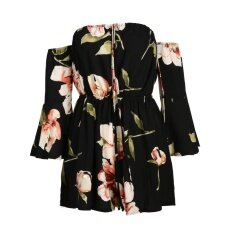 Women Off Shoulder Lace Up Floral Printed Pagoda Sleeve Romper Intl เป็นต้นฉบับ