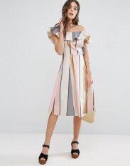 ซื้อ Women One Shoulder Print Party Dress Intl ใหม่
