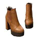 ราคา Women Platforms Square High Heel Ankle Boots Flock Lining Soft Pu Fashion Zipper Shoes ใน Thailand