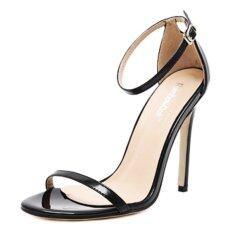 ซื้อ สตรีแฟชั่นคลาสสิกรองเท้าส้นสูงเปิดรองเท้าแตะ Plus ขนาด สีดำ สนามบินนานาชาติ ถูก จีน