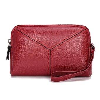 กระเป๋าคลัทช์ผู้หญิงใส่บัตรหนังหนังเทียมขนาดเล็ก (สีแดง)