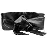 ซื้อ Women Pu Leather Soft Self Tie Band Wrap Around Sash Obi Belt Corset Cinch Waist Belt Band Waistband Black ถูก