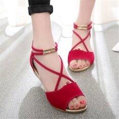 ราคา รองเท้าสตรีหนังเทียม Sandles มีสายคล้องหนา สีแดง เป็นต้นฉบับ Unbranded Generic