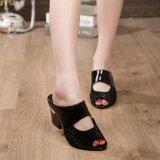 ส่วนลด Women Sandals Rhinestone Thick Mid Heel Open Toe Color Block Decoration Sandals Intl Unbranded Generic จีน