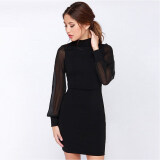 ขาย Venflon Women S*xy Backless Long Sleeve Pure Color Bodycon Dress Ladies Office Party Midi Dress Vestido Black เป็นต้นฉบับ
