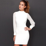 โปรโมชั่น Venflon Women S*xy Backless Long Sleeve Pure Color Bodycon Dress Ladies Office Party Midi Dress Vestido White Venflon ใหม่ล่าสุด