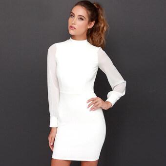 VENFLON Women Sexy Backless Long Sleeve Pure color Bodycon Dress Ladies Office Party Midi dress Vestido (White)