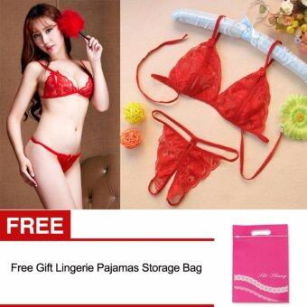 Women Sexy Lace Bras + G-string Lingerie Sets With Storage Bag - intl