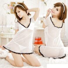 ซื้อ Women S*Xy Lingerie Deep V Neck White Sleepwear Transparent Mesh Nightwear G String ใหม่ล่าสุด