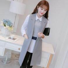 ราคา Women Sleeveless Blazers Vests Waistcoat Lady Office Suit Vest Long Coat Jackets No Button For Female Intl ออนไลน์ จีน