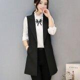 ราคา ผู้หญิงแขนกุดเสื้อกั๊กเสื้อกั๊กผู้หญิงชุดสูทเสื้อกั๊กยาวเสื้อแจ็คเก็ตเดี่ยวพร้อมสต็อกดำ นานาชาติ