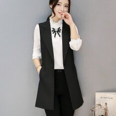 ขาย ผู้หญิงแขนกุดเสื้อกั๊กเสื้อกั๊กผู้หญิงชุดสูทเสื้อกั๊กยาวเสื้อแจ็คเก็ตเดี่ยวพร้อมสต็อกดำ นานาชาติ ใหม่