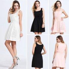 ขาย ซื้อ ออนไลน์ Women Sleeveless Party White Mini Dress Intl