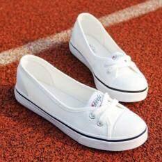 ซื้อ หญิงสาวไถลตัวบนรองเท้าผ้าใบสุภาพสตรีน้อยตัดรองเท้าแบนธรรมดา ขาว Jf ออนไลน์