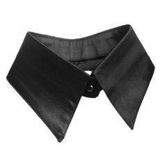 ผู้หญิงสีทึบปลอมเสื้อที่ถอดออกได้เสื้อคอแหลมสีดำ-นานาชาติเครื่องประดับ.