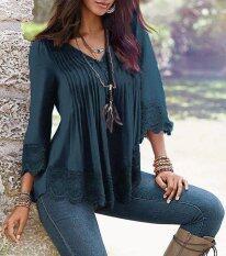 ราคา Women Summer Casual Long Sleeve Lace Shirts Loose Blouses T Shirt Tops Plus Size Intl เป็นต้นฉบับ Unbranded Generic