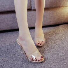 ผู้หญิงฤดูร้อนแฟชั่นส้นสูงรองเท้าแตะขนาด 35 39 ทอง นานาชาติ เป็นต้นฉบับ