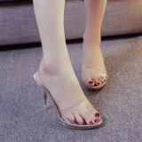 ผู้หญิงฤดูร้อนแฟชั่นส้นสูงรองเท้าแตะขนาด 35 39 เงิน นานาชาติ ถูก