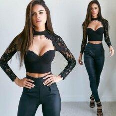ขาย ผู้หญิงฤดูร้อนลูกไม้ชุดลำลองเสื้อกั๊กเสื้อแขนกุดเสื้อ สีดำ นานาชาติ ผู้ค้าส่ง